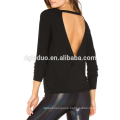 Back cut-out custom t shirt women cotton long sleeve shirt