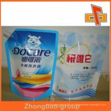 Bolsa sellada caliente del bolso del canalón del plástico para el fertilizante líquido y detergente de la ropa