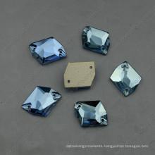 Flat Back Aquamarine Sew on Rhinestones with Two Holes (DZ-3070)