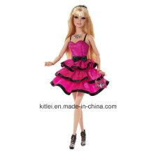 Personalizado Rojo vestido princesa muñeca pelo rubio plástico niños juguete