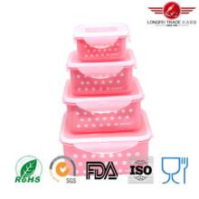 Récipient en plastique carré de nourriture de micro-onde 4PCS