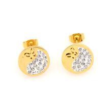 Boucles d'oreilles en gros bon marché rondes d'or, bijoux d'oreille de goujon d'oreille de Dubaï