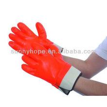 Полностью покрытые пенополиуретанами полупрозрачные оранжевые рабочие перчатки ПВХ