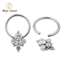Body piercing bezel set cubic zirconia hinged surgical steel jewelry nose rings
