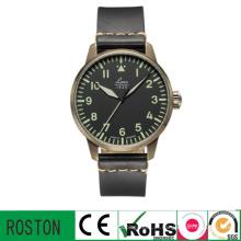 Banda de couro Sport Watch com capa preta para homens