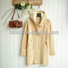 12STC0628 женские длинный свитер пальто с капюшоном