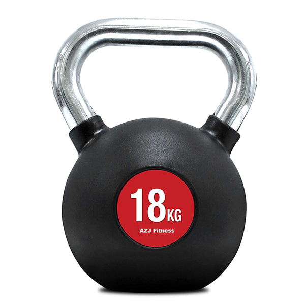 18kg Rubber Coated Chrome Handle Kettlebell 600