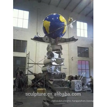 Large Modern Famous Arts Abstract Stainless steel Book and Globe Sculpture for Garden decoration