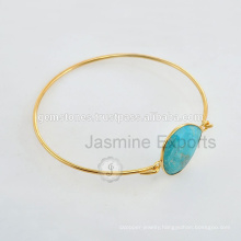 Handmade Vermeil Gold Semi Precious Gemstone Latest Design Daily Wear Bangle