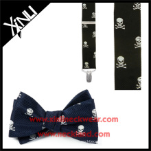 Men's Silk Jacquard Skull and Crossbones Bow Tie and Suspender Set