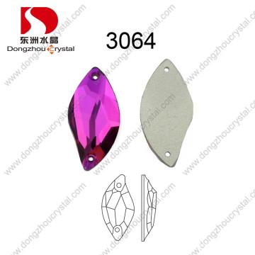 La forma al por mayor plana de la parte posterior de China S cose en la piedra para el vestido de boda