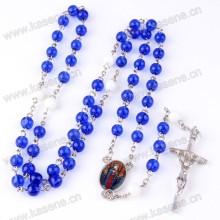 Fast venda Cristal Cristal Azul Grânulos Crucifixo Cruz Cruz Colar