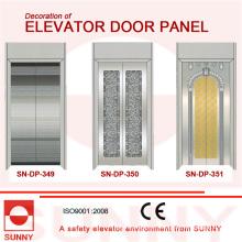 Panel de puerta de acero inoxidable cóncavo dorado para la decoración de la cabina del elevador (SN-DP-349)