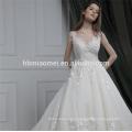 Dernières robes de mariée conceptions tribunal train robe de mariée sans manches de mariée