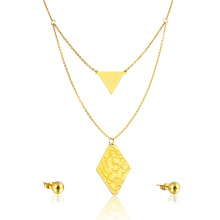 Stainless Steel Triangle Geometric Jewelry Set Lovely Stud Earring Necklace Set