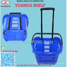 Plastic Shopping Basket with Two Wheels for Shopping Mall