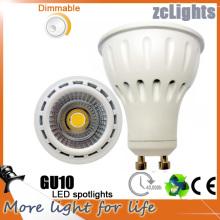 Mejor precio High Lumen regulable 7W COB LED GU10 focos