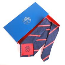 Cravate brodée par coutume de Jacquard de soie d'hommes de rayure rouge de marine avec le logo sur le basculement