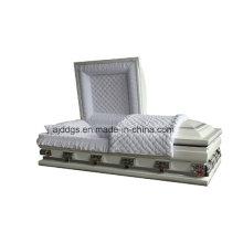 Branco sombreado caixão acabamento prateado (tamanho grande)