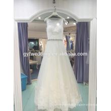 2017 new sleeveless vest-style lace bead belt backlit sexy tail wedding dress LJ-10038