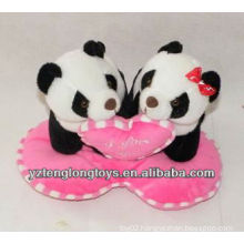 cute and lovely twin heart plush panda toys valentine's gifts