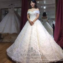 Vestido de novia de la boda del vestido de bola del vestido de boda simple marfil hombro sexy fuera