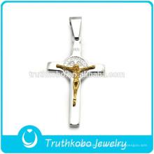 DIY Casting Two Tone Crucifixo Religioso Popular Aço Inoxidável Pai Jesus Cruz Orações Pingente para Colar de Rosário
