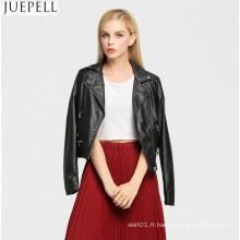 Nouvelles Femmes Europe et Amérique Mode Court Paragraphe Veste En Cuir En Cuir Moto Rue Style Cool Noir Femmes Veste
