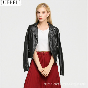 New Women Europe and America Fashion Short Paragraph Leather Jacket Leather Motorcycle Street Style Cool Black Women Jacket