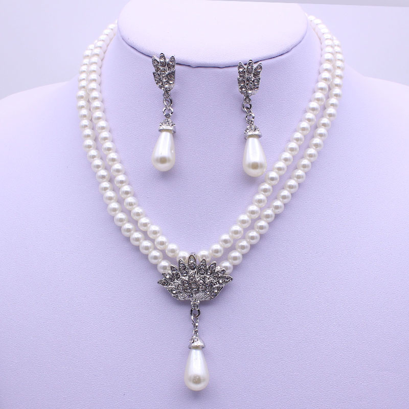 Wholesale Cheap Pearl Necklace And Earring Jewelry Sets