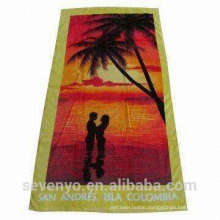 100% cotton romance under the setting sun design beach towels