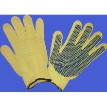 Gants de coton pointillé en PVC noir à double face