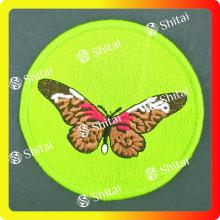 Circle embroidery patch with butterfly