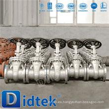 Didtek Válvula de compuerta de extremo de brida accionada por engranaje de acero inoxidable con dimensiones