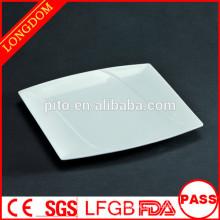 Hochwertige quadratische weiße Porzellan-Seitenplatte Porzellanplatte