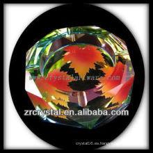 Cenicero de cristal poligonal K9 con imágenes impresas