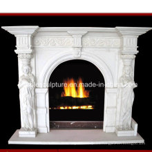 Lady Statue Carved White Marble Fireplace (SY-MF163)