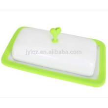 Nuevo diseño de plato de mantequilla de cerámica con tapa