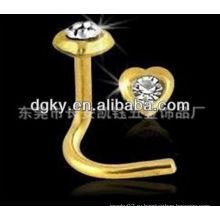 24K золото евро стиль хирургической нержавеющей стали нос кольца пирсинг
