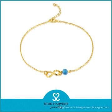 2015 le plus populaire à la main en argent perles Bracelet (J-0227A)
