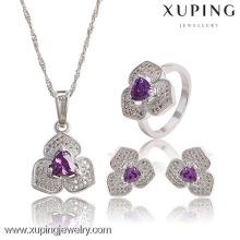 63767 Einzigartige Damen Weiß Farbe Violett Zirkonia Modeschmuck Set