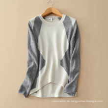 Frauen Pullover Mode Kontrastfarben Pullover Pullover O Hals unregelmäßige Saum Kaschmir stricken Patch Arbeit Pullover
