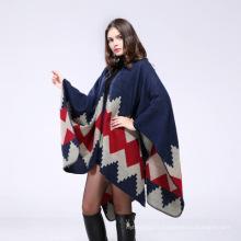 Cap chaud surdimensionné hiver 50% acrylique 50% polyester jacquard tissage poncho cape châle