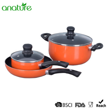 OEM Factory for Pressed Aluminum Cookware,Pressed Aluminum Pizza Pan Manufacturers and Suppliers in China Orange Pressed Nonstick Bakelite Cookware Set supply to Tajikistan Exporter