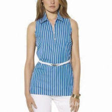 Ladies' Casual Blouse, Women's Sleeveless Tunic/Striped Cotton Poplin/Dress Shirt/Pullover Styling