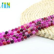 Precio de fábrica venta al por mayor rosa ágata raya granos de piedras preciosas rojas redondas naturales, L-0113