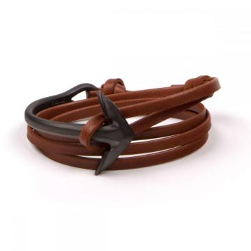 Stainless steel Half anchor rope leather bracelet