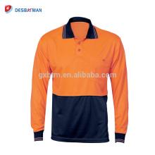 Camiseta de polo barata de la seguridad vial de la manga larga del contraste de la alta visibilidad del poliéster de la fábrica de China 100%