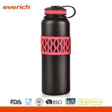 Color personalizado de acero inoxidable hermosa manga de la botella de agua de doble pared de la válvula