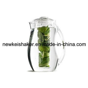 Jarro de cerveja de plástico acrílico 2L com tubo de núcleo de gelo